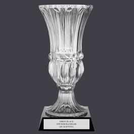Large Optical Crystal Dog Show Award Vase w/ Attached Base