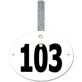 Stock Oval Dog Show Exhibitor Number w/ Hook