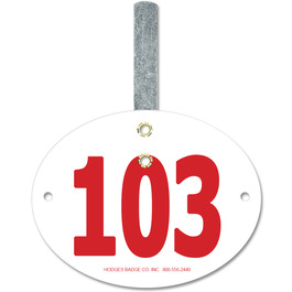 Oval Dog Show Exhibitor Number w/ Hook