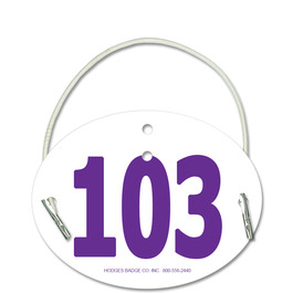 Oval Dog Show Exhibitor Number w/ Elastic