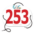 Custom Full Color Large Oval Dog Show Exhibitor Number w/ String