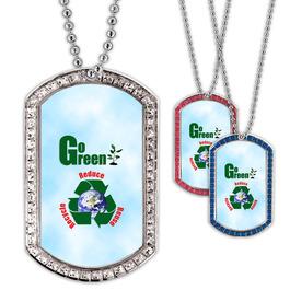 Full Color GEM Go Green Dog Tag
