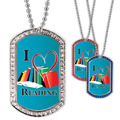 Full Color GEM I Heart Reading Dog Tag