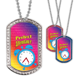 Full Color GEM Perfect Attendance Dog Tag