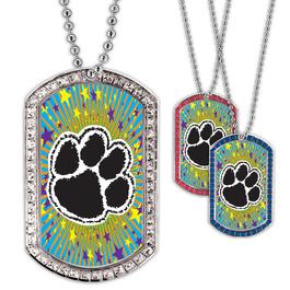 Full Color GEM Paw Print Dog Tag