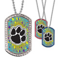 Full Color GEM Paw Print Dog Tag