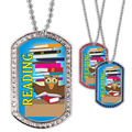 Full Color GEM Reading Owl Dog Tag