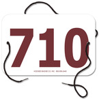 Small Rectangular Exhibitor Number w/ String