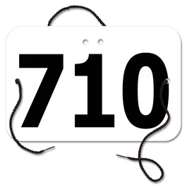 Stock Large Rectangular Exhibitor Number w/ String