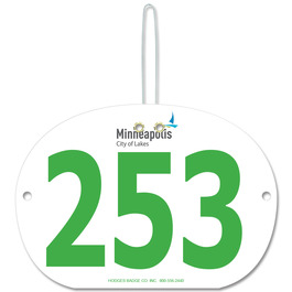 Indurotec(TM) Custom Full Color Large Oval Exhibitor Number w/ Hook