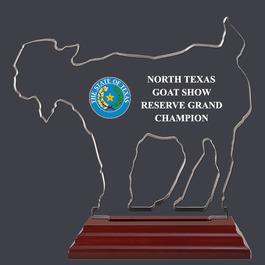 Goat Shaped Fair, Festival & 4-H Acrylic Award Trophy