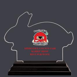 Full Color Rabbit Shaped Fair, Festival & 4-H Acrylic Award Trophy w/ Black Base