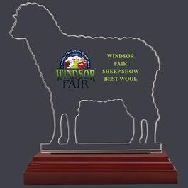 Sheep Shaped Fair, Festival & 4-H Acrylic Award Trophy