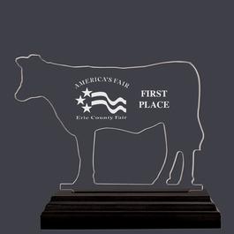 Engraved Cattle Shaped Fair, Festival & 4-H Acrylic Award Trophy w/ Black Base