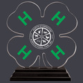 Engraved Clover Shaped w/ Green H's Acrylic Award Trophy w/ Black Base