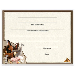 In-Stock Full Color Fair, Festival & 4-H Award Certificate - Farm Animals Design