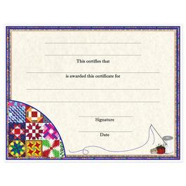 In-Stock Full Color Fair, Festival & 4-H Award Certificate - Quilting Design