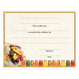 In-Stock Full Color Fair, Festival & 4-H Award Certificate - Vegetable and Canning Design