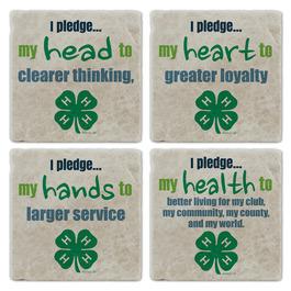 4-H Pledge Tumbled Stone Coasters