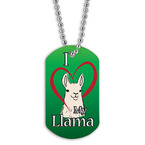 Full Color I Love My Llama Dog Tag