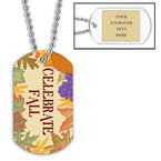 Personalized Celebrate Fall Dog Tag w/ Engraved Plate