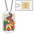 Personalized Cornucopia Dog Tag w/ Engraved Plate