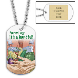 Personalized Farming Dog Tag w/ Engraved Plate