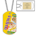 Personalized Fiesta Dog Tag w/ Engraved Plate