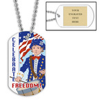 Personalized Freedom Dog Tag w/ Engraved Plate