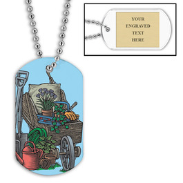 Personalized Garden Gear Dog Tag w/ Engraved Plate