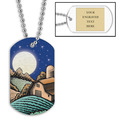 Personalized Harvest Moon Dog Tag w/ Engraved Plate