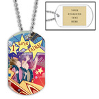 Personalized Rollercoaster Dog Tag w/ Engraved Plate