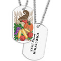 Personalized Cornucopia Dog Tag w/ Print on Back