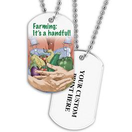 Personalized Farming Dog Tag w/ Print on Back