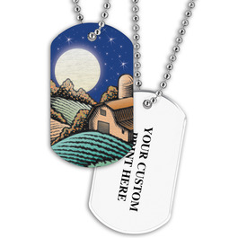 Personalized Harvest Moon Dog Tag w/ Print on Back