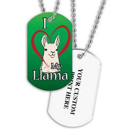 Personalized I Love My Llama Dog Tag w/ Print on Back