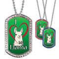 Full Color GEM I Love My Llama Dog Tag