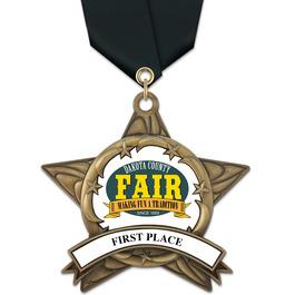 AS14 All Star Fair, Festival & 4-H Award Medal w/ Satin Neck Ribbon