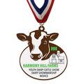 Custom Shape Birchwood Award Medal w/ Millennium Neck Ribbon