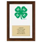 4-H Clover Fair Award Plaque - Cherry Finish