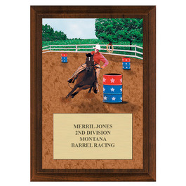 Barrel Racing Fair, Festival & 4-H Award Plaque - Cherry Finish