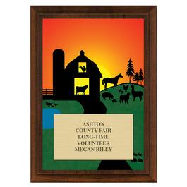 Farm Fair, Festival & 4-H Award Plaque - Cherry Finish