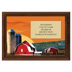 Red Barn Fair, Festival & 4-H Award Plaque - Cherry Finish