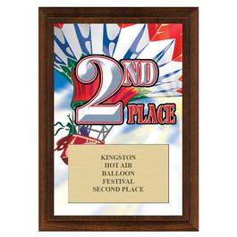Second Place Fair, Festival & 4-H Award Plaque - Cherry Finish