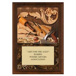 Woodcarving Fair, Festival & 4-H Award Plaque - Cherry Finish
