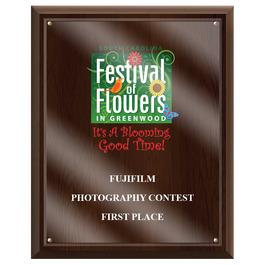 Full Color Fair, Festival & 4-H Award Plaque - Cherry Finish w/ Acrylic Overlay