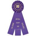 Ideal Fair, Festival & 4-H Rosette Award Ribbon w/ 3 Streamer Printing
