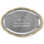 Scalloped Oval Fair, Festival & 4-H Award Tray w/ Gold Border