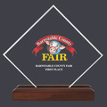 Diamond Acrylic Fair, Festival & 4-H  Award Trophy w/ Walnut Base