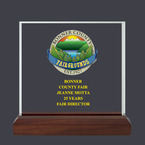 Square Acrylic Fair, Festival & 4-H Award Trophy w/ Walnut Base